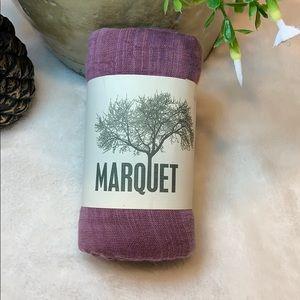 Purple colored cotton and silk hand woven shawl.